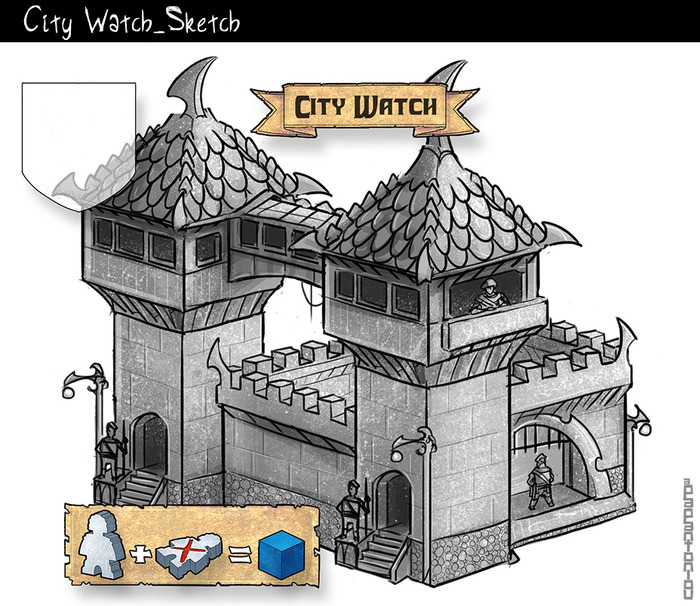 The new art for the city watch section on the game board