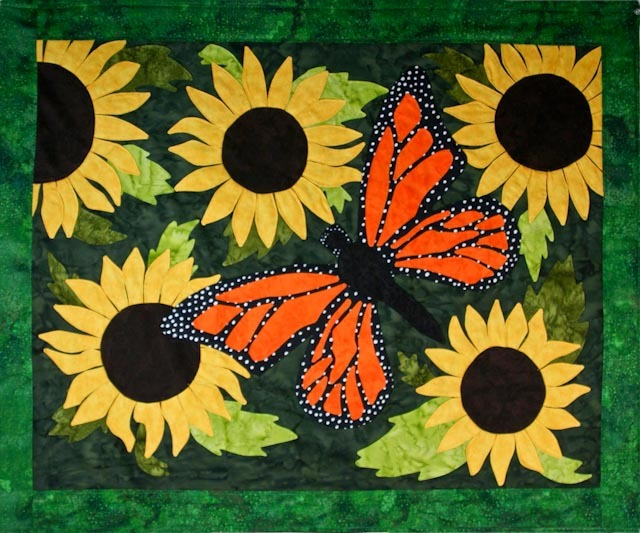 Monarch of the Sunflowers - Quilt Painting