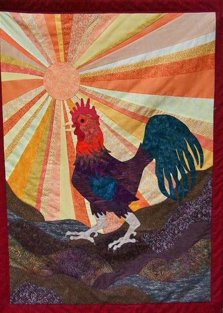 Rooster Dawn - Quilt Painting