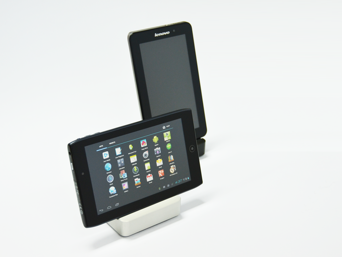 7 inch tablets in different positions