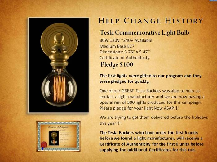 Special Limited Edition Run of 500 Tesla Light Bulbs