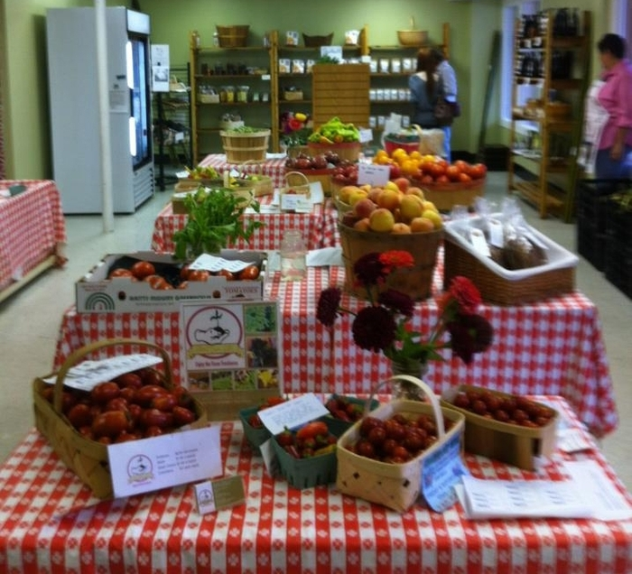 The market interior- we're using tables and tablecloths borrowed from a local church, shelves we repurposed from a dumpster, and donated freezers!