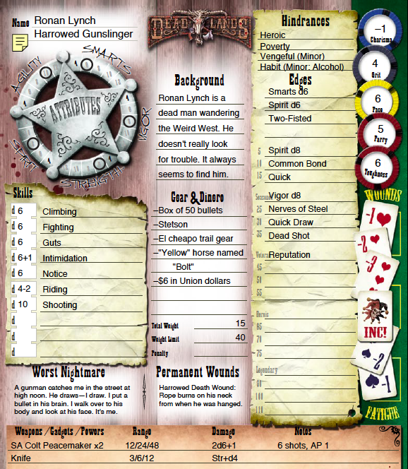 The Deadlands Explorer's Edition character sheet with a character from Wild Card Creator filled in!