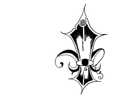 Magical fleur-de-lis symbol Luke, Sera, and their best friend Fey have placed on their wrists. This comes as a temporary tattoo, on a t-shirt, and as a matted original drawing.