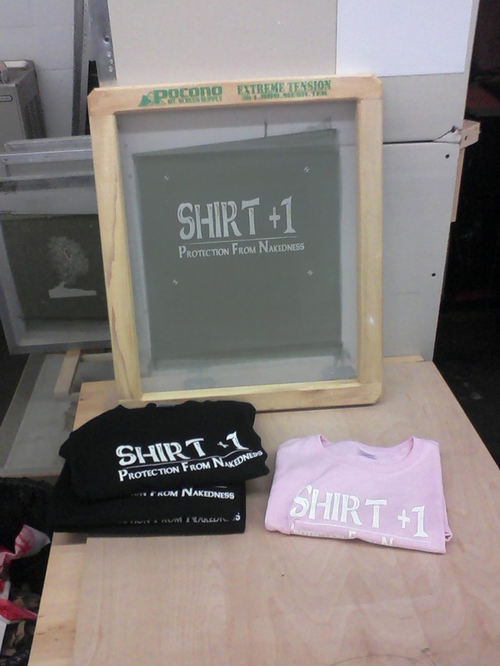 Our first few shirts, hot off the press!