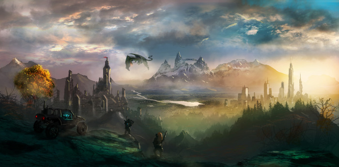 Concept art by Dusty Crosley- A glimpse of Emergence: cliffside view of the traditional fortress of Marac'Tun and the contemporary city of Haven