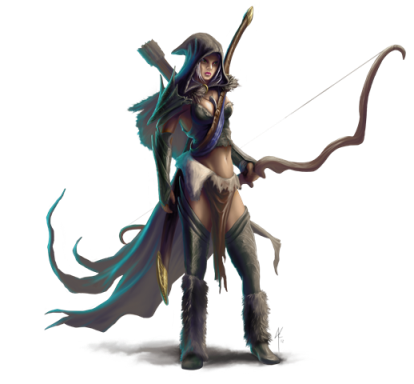 Concept art by James Krause- Dylania, traditional elven scout with great bow and enchanted great sword