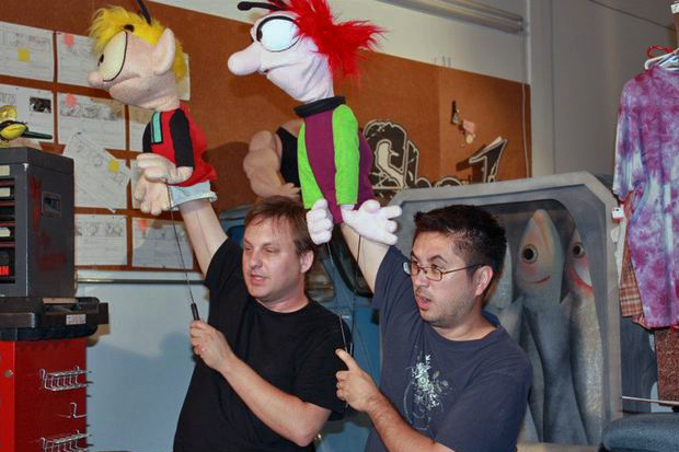 That's me on the left and Erik (right). We have puppeteered the Melonpool puppets since 1994.