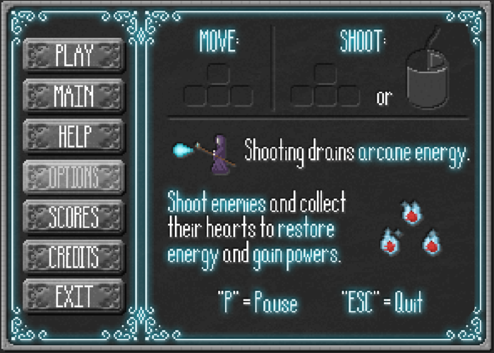 First Draft of the Game Menu Help Screen