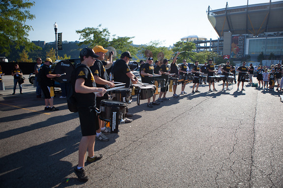 The Steeline rockin' the tailgate in the gold lot outside Heinz Field before the game!