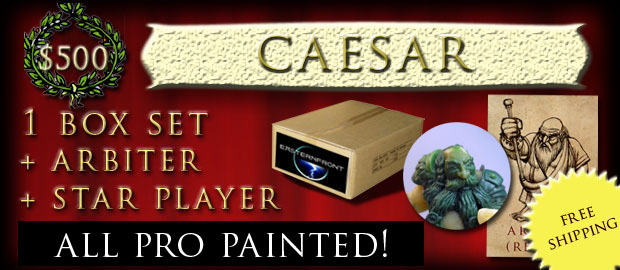 "1 box set contains: 2 Retiarius, 3 Provocator, 2 Secutor, 2 Thraex, 3 Murmillo. All the miniatures will be painted by the multi Golden Demon winner Alessio ""Wolfbane"" Cisbani!"