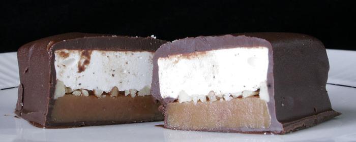 Goat's Milk Caramel, Toasted Pecans, & Vanilla-Honey Nougat dipped in TCHO's 66% Organic Chocolate