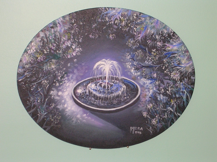 """The Midnight Fountain"" -- original oil painting on 16"" x 20"" oval canvas by award-winning artist Vera Nazarian -- an art collector's dream!"