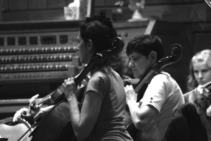 Ruth Ann and Jean, our illustrious cello section.  Photo by Brian Hannah