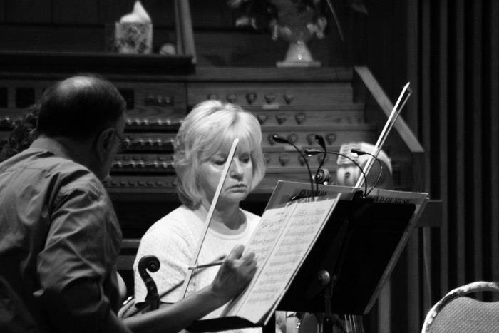 Howard, our concertmaster, and second violinist Brenda.  Photo by Brian Hannah