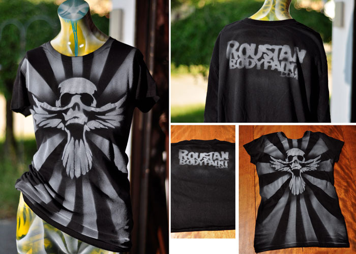 Roustan Body Paint 'Skull Dove' Stencil Airbrush Shirt by Paul Roustan