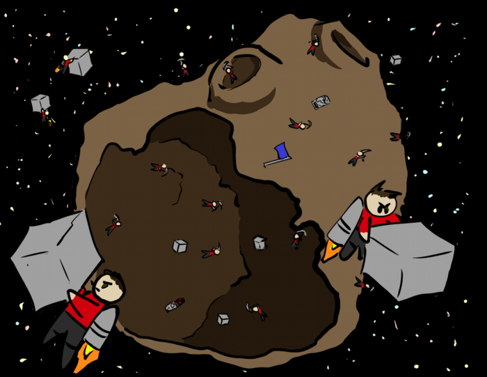 Redshirt Clones mining an asteroid. It's serious work!