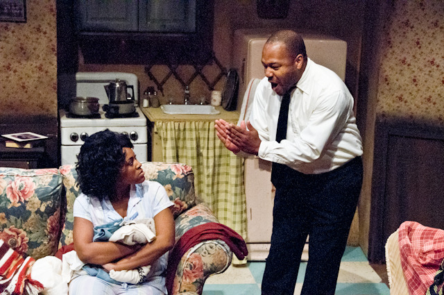 "Yhá Mourhia D. Wright and Michael Wayne Rice in ""A Raisin in the Sun"""