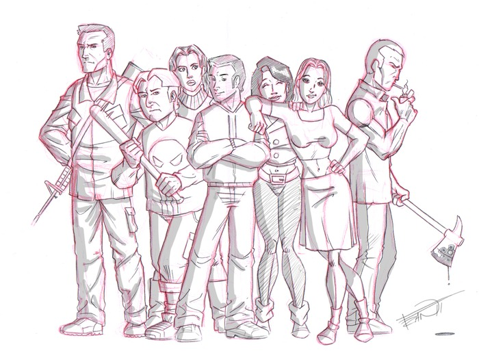 Pandora's finest! Surviving each other will be their first battle! Left to Right: Ethan, Sam, Michele, Tristan, Ashely, Nikki and James