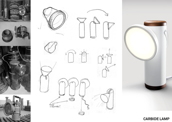 Early wired prototype of the M Lamp – winner of Best Interior Product, Design Event Mark UK 2011
