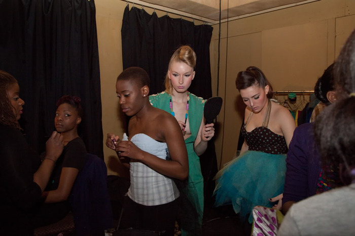 Backstage: fashion scene models prepping; (far left) Look Lush Make-up Artist, Francisca