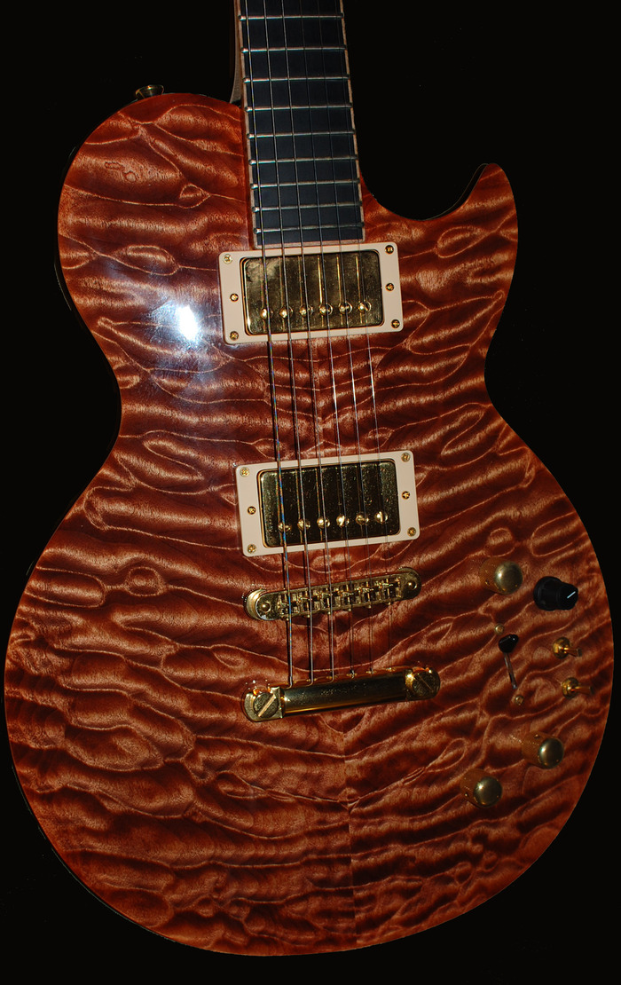 Flame maple top detail on my Brian Moore MIDI iGuitar offered here