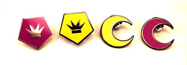 "Set of four 1"" enamel pins - Derse Emblem, Prospit Emblem, Prospit Moon, Derse Moon"