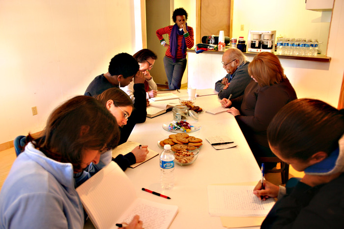 Community creative writing workshop with novelist Olympia Vernon.