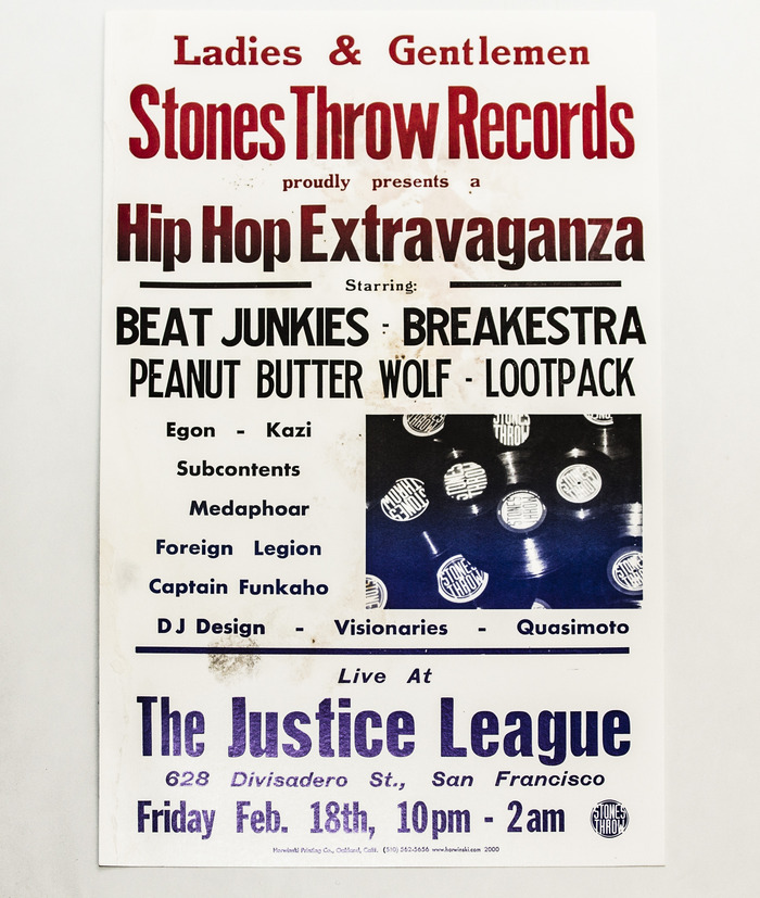 $2,000 - Poster from the first Stones Throw Showcase in 1999