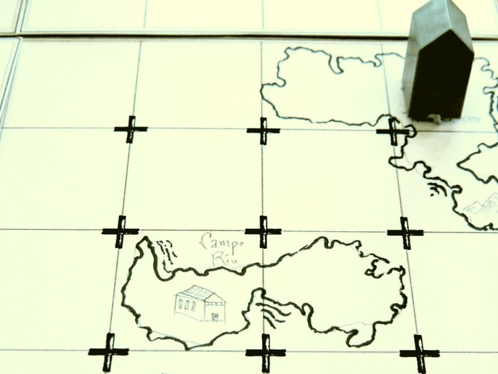Hand-inked map tiles from the prototype.