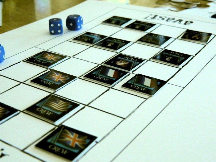 The Avast! mini-game, used for capturing ships or pillaging towns.  Prototype pieces take from the Pirates of the Spanish Main game by Wizards of the Coast, and do not reflect the final product.