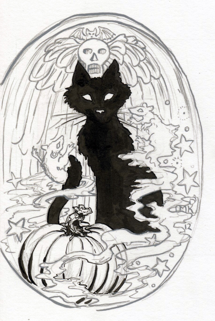 Beginning of the artwork for the Ghost Mice pendant pledge reward!