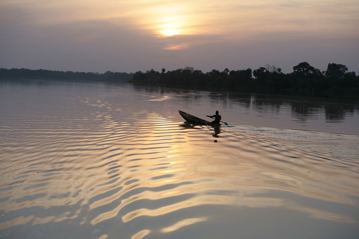Dusk & Fisherman on the River Gambia, The Gambia, West Africa © Jason Florio
