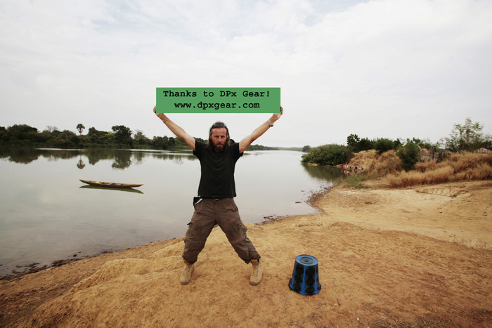 This could be your name/company/website name on this banner - modelled by Jason on the banks of the River Gambia, 2009. Image © Helen Jones-Florio