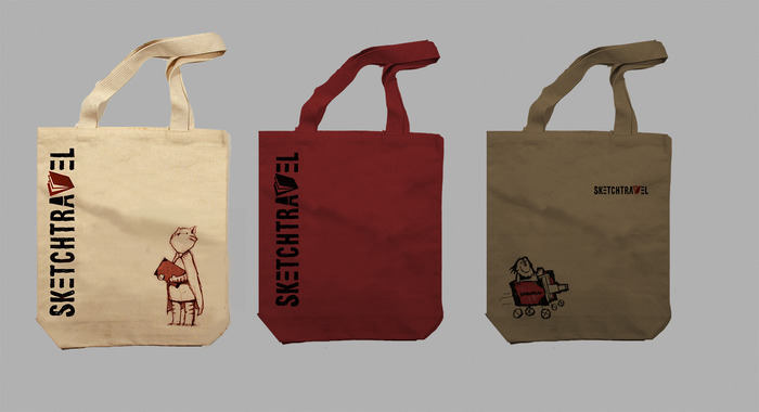 Prototype of Three Tote Bag Designs(Cat Sketch, Simple, and Scott C's tank!) (get them all if you pledge more than $60)