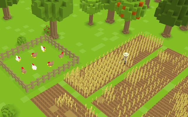 A large wheat farm and chicken roost. Harvested wheat can be turned into flour by milling, which can then be made into bread. Chickens can be used to produce eggs, or slaughtered for poultry. Chicken feathers are also needed to craft arrows.