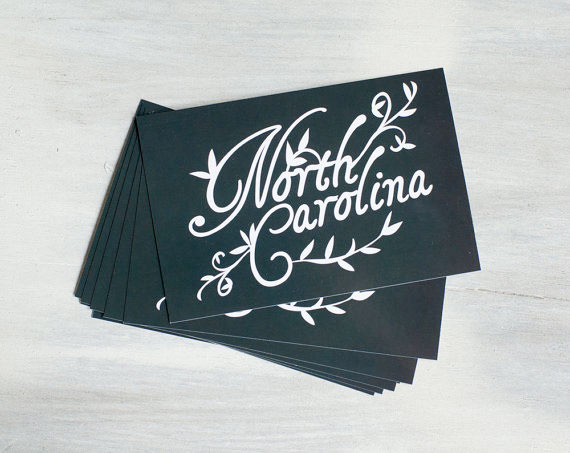 Set of 8 NC Note Cards by Raleigh Designer Michelle Smith.