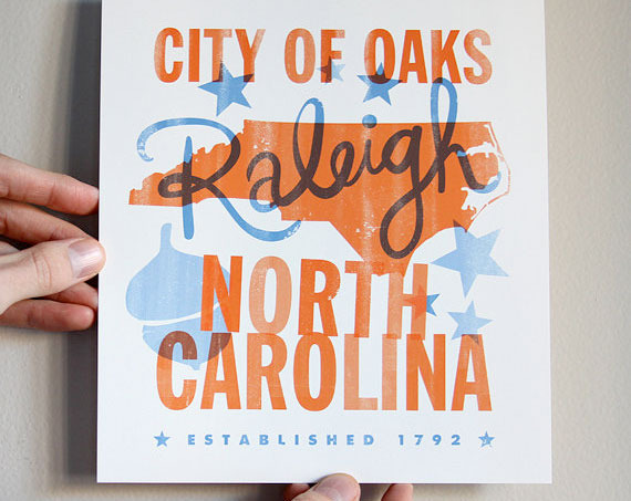 "8""x9"" City of Oaks Print by Raleigh Business, Dapper Paper"