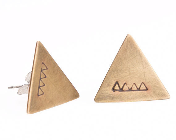 Brass Geometric Stud Earrings from Asheville Designer Another Feather