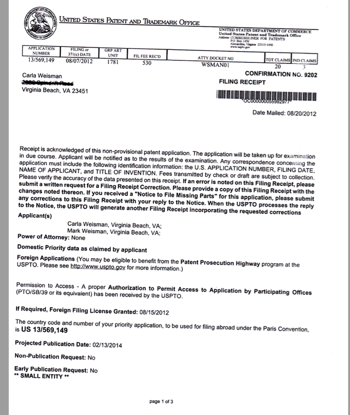 Confirmation that we filed for our patent - we are patent pending