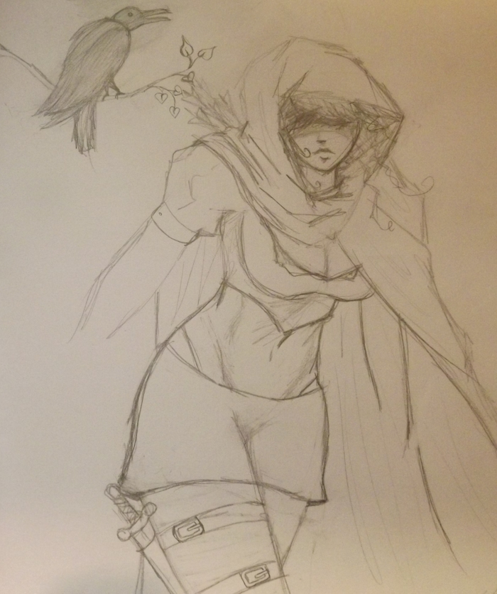 "Character rough of ""Dark Raven"""
