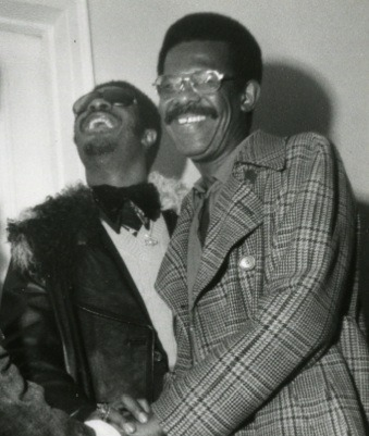 Ellis Haizlip (right) backstage with Stevie Wonder