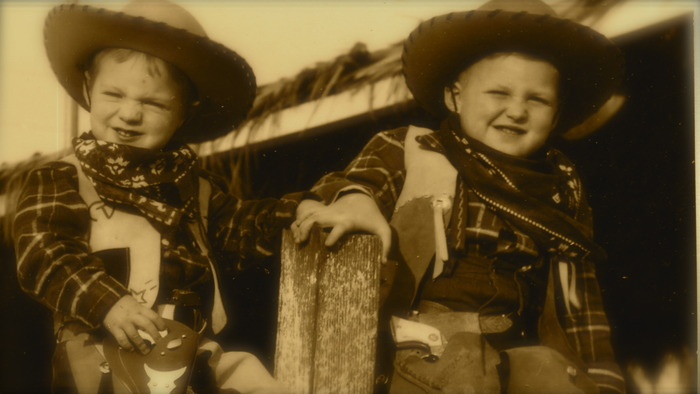Rick and older brother Jim at Tinker Town For Tiny Tots, downtown LA, Circa late 1940s. Click on image for rare home movies.