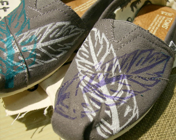 Feather printed Toms by Raleigh Artist Matt Butler