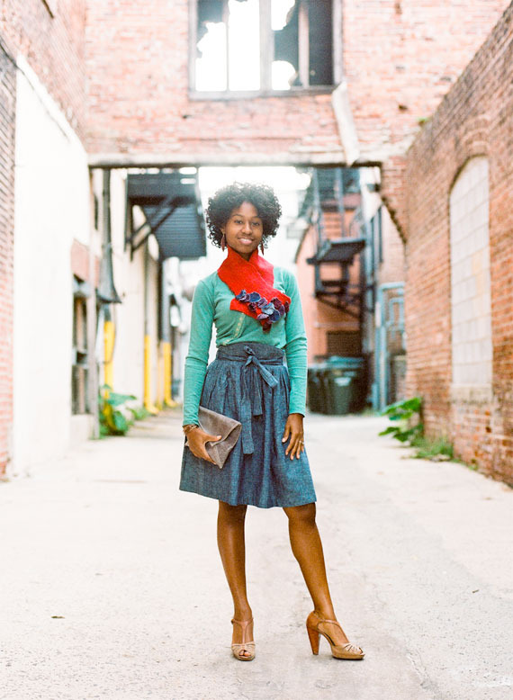 Whitney Robinson, one of the Kindred employees & a local designer, wearing all North Carolina made goods: Skirt & Shirt by Judah Ross, Jewelry by Haden Designs, Scarf by Miss Fitt, Clutch by Freshly Given. Photo by Cade Bowman, Styling by Michelle Smith.