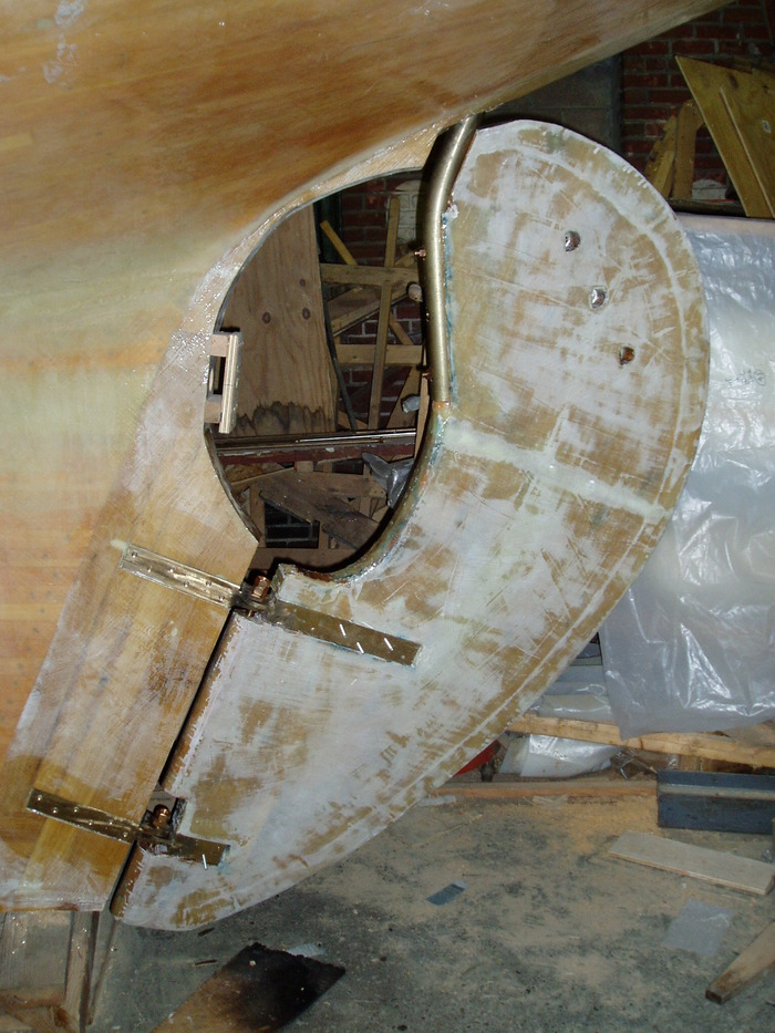 This is the rudder when we dry fit it 2 years ago. The rudder post is the heavy bronze rod that sticks out of the bottom of the boat and turns the whole rudder.