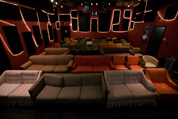 Ragtag Cinema's small theater seats 75 in a comfy atmosphere reminiscent of our 1-screen space from our early years of operation.