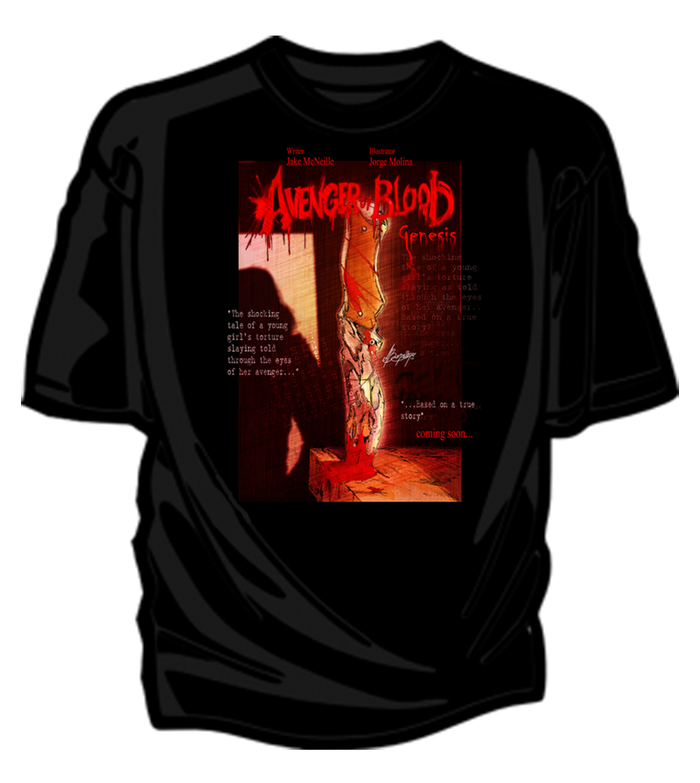 Avenger of Blood: Genesis tees will look a little something like this!