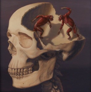 "Sandra Yagi - ""Chimpbrain"" - Oil on Panel - 2011"