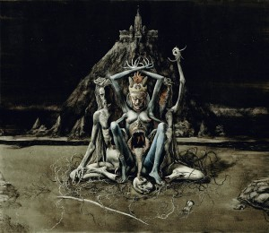 "Santiago Caruso - ""The Inner Prophetess"" - ink and scratching over paper"
